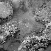 Dragon's Mouth Geyser Pool - Yellowstone National Park - Black & White