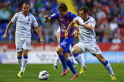 VALENCIA, SPAIN - MAY 10: (L) Miguel Angel Herrero of Levante UD  is followed by (R) Francisco Montañes of Real Zaragoza during the Liga BBVA between Levante UD and Real Zaragoza at the Ciutat de Valencia stadium on May 10, 2013 in Valencia, Spain. (Photo by Aitor Alcalde Colomer).