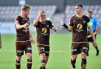 Fotball , 29. juli 2020 , Eliteserien  ,  Mjøndalen - Odd<br /> Markus Nakkim , Stian Semb Aasmundsen og Wiliam Sell