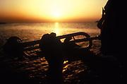 Sunset trumpet player, Ibiza, 1999.