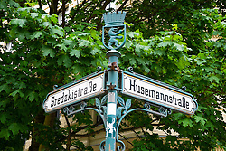 Old street signs in bohemian Prenzlauer Berg district of Berlin Germany