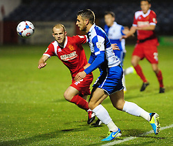 Bristol Rovers' Lee Brown is challenged by Alfreton Town's Bradley Wood - Photo mandatory by-line: Neil Brookman/JMP - Mobile: 07966 386802 - 11/11/2014 - SPORT - Football - Derbyshire - North Street - Alfreton Town v Bristol Rovers - Vanarama Conference