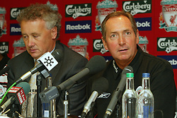 LIVERPOOL, ENGLAND - Thursday, July 10, 2003: Liverpool manager Gerard Houllier (r) and Chief-Executive Rick Parry at a press conference at Anfield. (Pic by David Rawcliffe/Propaganda)