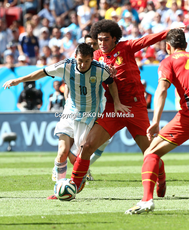 Fifa Soccer World Cup - Brazil 2014 - <br /> ARGENTINA (ARG) Vs. BELGIUM (BEL) - Quarter-finals - Estadio Nacional Brasilia -- Brazil (BRA) - 05 July 2014 <br /> Here Argentine player Lionel Messi (C). Belgium players Marouane FELLAINI (C).<br /> &copy; PikoPress