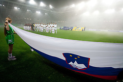 Slovenian flag during friendly football match between National teams of USA and Slovenia, on November 15, 2011 in SRC Stozice, Ljubljana, Slovenia. USA defeated Slovenia 3-2. (Photo By Vid Ponikvar / Sportida.com)