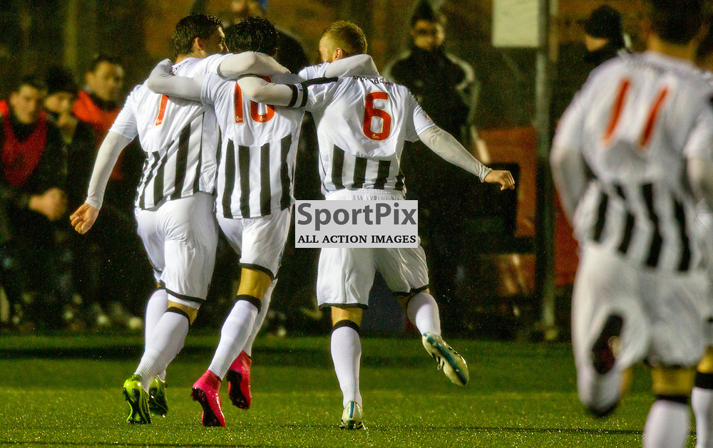 Forfar Athletic v Dunfermline Athletic SPFL League One Season 2015/16 Station Park 26 December 2015<br /> faissal El Bahktoui celebrates with his team mates after making it 2-1<br /> CRAIG BROWN | sportPix.org.uk
