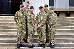 ***UNDER STRICT EMBARGO UNTIL 00:01 22nd MARCH 2013 *** © Licensed to London News Pictures. 21/03/2013. Sandhurst, UK. Military Cross recipients (LEFT TO RIGHT) CAPTAIN RICHARD OAKES OF THE MERCIAN REGIMENT, TERRITORIAL ARMY. CAPTAIN MICHAEL DOBBIN OF THE GRENADIER GUARDS. CORPORAL STEPHEN SHAW OF THE ROYAL MEDICAL CORPS. SERGEANT ROY GEDDES OF THE ROYAL AIRFORCE. CAPTAIN JOHN SCARLETT OF THE COLDSTREAM GUARDS. LANCE-CORPORAL LAWRENCE KAYSER OF THE ROYAL ANGLICAN REGIMENT.  Recipients of honours at a media facility today 21/03/13 at the Royal Military Academy, Sandhurst, ahead of the publication of the full 'operational honours list 40' to be published in the London Gazette on Friday March 22nd 2013.  Photo credit : Stephen Simpson/LNP