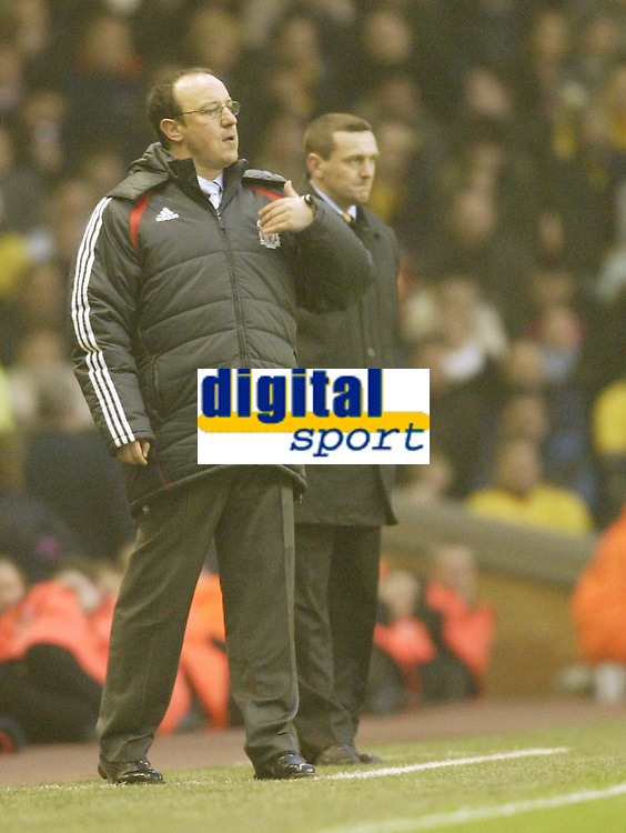 Photo: Aidan Ellis.<br /> Liverpool v Watford. The Barclays Premiership. 23/12/2006.<br /> Liverpool manager Raphael Benitez and Aidy Boothroyd