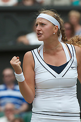 LONDON, ENGLAND - Thursday, June 30, 2011: Petra Kvitova (CZE) celebrates winning a point during the Ladies' Singles Semi-Final match on day ten of the Wimbledon Lawn Tennis Championships at the All England Lawn Tennis and Croquet Club. (Pic by David Rawcliffe/Propaganda)
