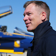 BRUNSWICK, Maine -- 9/4/15 -- Tim Gagnon, Brunswick High School Asst Principal,  joined U.S. Marine Capt. Jeff Kuss, pilot of Blue Angel #7 in a demonstration flight to Rangely as a Key Influencer -- as part of the Great State of Maine Air Show. <br /> Photo by Roger Duncan for The Forecaster.