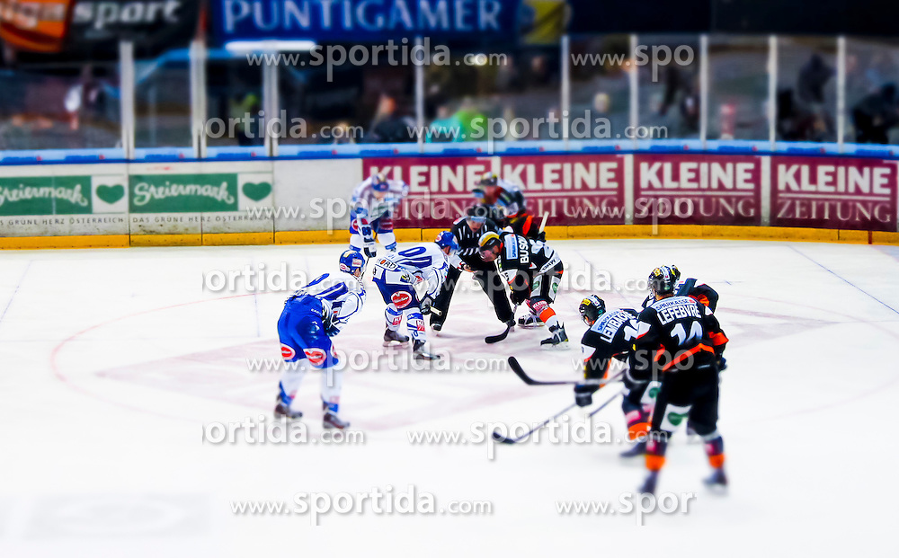 30.12.2011, Eisstadion Liebenau, Graz, AUT, EBEL, Moser Medical Graz 99ers vs EC Rekord Fenster VSV im Bild Derek Damon (EC Rekord Fenster VSV, #10, Forward) und Yvan Busque (Moser Medical Graz 99ers, #25, Forward) // during the Erste Bank Icehockey League, Eisstadion Liebenau, Graz, Austria, 2011-12-30, EXPA Pictures © 2011, PhotoCredit: EXPA/ E. Scheriau