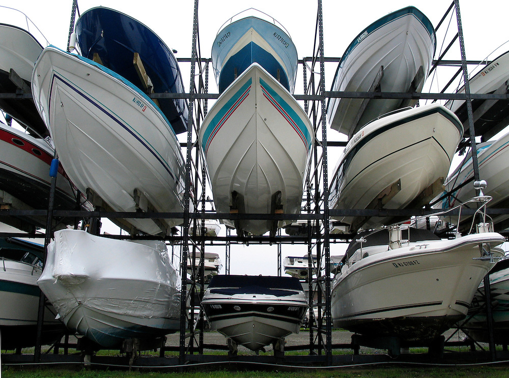 (DITLO) Sea Bright Monmouth Beach 7/3/2003  Boats on a rack at the Sandy Hook Yacht Sales.  Michael J. Treola Staff Photographer........MJT