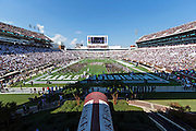 STARKVILLE, MS - SEPTEMBER 19:  Players of the Mississippi State Bulldogs run onto the field before a game against the Northwestern State Demons at Davis Wade Stadium on September 19, 2015 in Starkville, Mississippi.  The Bulldogs defeated the Demons 62-13.  (Photo by Wesley Hitt/Getty Images) *** Local Caption ***