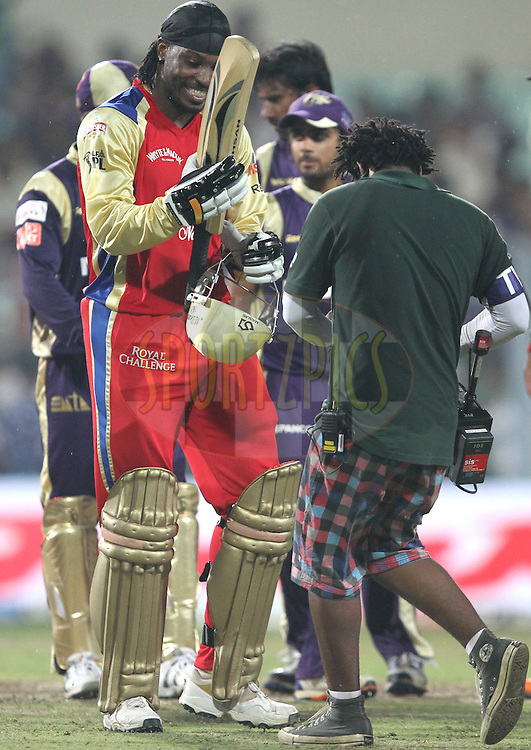 Chris Gayle of RCB enjoying the victory moment after match 24 of the Indian Premier League ( IPL ) between the Kolkata Knight Riders and the Royal Challengers Bangalore held at Eden Gardens Cricket Stadium in Kolkata, India on the 22nd April 2011..Photo by Prashant Bhoot/BCCI/SPORTZPICS