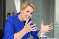 19 AUG 2019, BERLIN/GERMANY:<br /> Franziska Giffey, SPD, Bundesfamilienministerin, waehrend einem Doppel-Interview mit J ens S pahn (nicht im Bild), CDU, Bundesgesundheitsminister, Redaktionsvertretung der Rheinischen Post<br /> IMAGE: 20190819-01-048