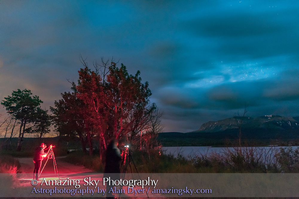 Participants at my Night Photography Workshop on JUne 15, 2017 at Maskinonge Pond at Waterton Lakes National Park, Alberta, on a mostly cloudy night.
