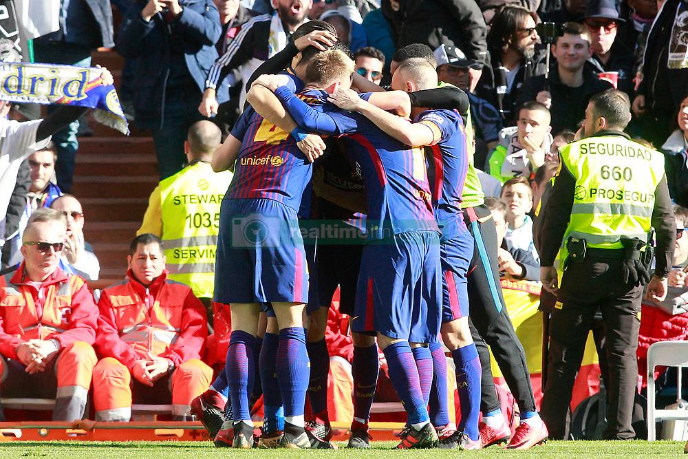 FC Barcelona's players celebrate goal during La Liga match. Madrid, Spain, on December 23, 2017. Photo by Acero/AlterPhotos/ABACAPRESS.COM