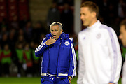 Chelsea Manager Jose Mourinho looking tired during the Capital One Cup match between Walsall and Chelsea at the Banks's Stadium, Walsall, England on 23 September 2015. Photo by Alan Franklin.