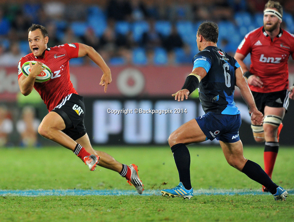 Israel Dagg of the Crusaders during the 2015 Super Rugby rugby match between the Bulls and the Crusaders at the Loftus Versfeld Stadium in Pretoria, South Africa on March 28, 2015 ©Samuel Shivambu/BackpagePix