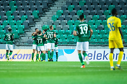 Players of NK Olimpija celebrating after second goal during football match between NK Olimpija and NK Domzale in 2nd Round of Prva liga Telekom Slovenije 2019/20, on July 21st, 2019, in Stadium Stozice, Ljubljana, Slovenia. Photo by Grega Valancic / Sportida