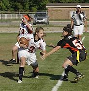 Junior Kelci Rhodes (2) runs the ball during the 3rd Annual Powderpuff Challenge, the junior girls (class of 2008) against the senior girls (class of 2007.)