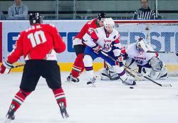 Andrej Tavzelj of Slovenia and Robert Kristan of Slovenia during ice-hockey match between Slovenia and Hungary at IIHF World Championship DIV. I Group A Slovenia 2012, on April 18, 2012 in Arena Stozice, Ljubljana, Slovenia.  (Photo by Vid Ponikvar / Sportida.com)
