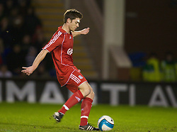 WARRINGTON, ENGLAND - Tuesday, February 26, 2008: Liverpool's Xabi Alonso scores the opening goal from the penalty spot against Manchester United during the FA Premiership Reserves League (Northern Division) match at the Halliwell Jones Stadium. (Photo by David Rawcliffe/Propaganda)