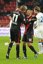 02.12.2011, BayArena, Leverkusen, GER, 1.FBL, Bayer 04 Leverkusen vs TSG Hoffenheim, im BildTorjubel/ Jubel nach dem 2:0 durch Sidney Sam (Leverkusen #18) (R) mit Stefan Kiessling (Leverkusen #11) // during the 1.FBL, Bayer Leverkusen vs TSG Hoffenheim on 2011/12/02, BayArena, Leverkusen, Germany. EXPA Pictures © 2011, PhotoCredit: EXPA/ nph/ Mueller..***** ATTENTION - OUT OF GER, CRO *****