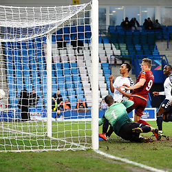 TELFORD COPYRIGHT MIKE SHERIDAN 5/1/2019 - Marcus Dinanga of AFC Telford puts the ball in the back of the net, but it's disallowed for offside during the Vanarama Conference North fixture between AFC Telford United and Spennymoor Town.