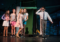 "Leilani McMath / Margot, May Kenny / Serena and Zoe Lehneman / Pilar watch as Chelsea Sasserson / Elle Woods swoons over Warner /Tyler Browne during dress rehearsal for ""Legally Blonde"" with Gilford Middle School on Monday afternoon.  (Karen Bobotas/for the Laconia Daily Sun)"