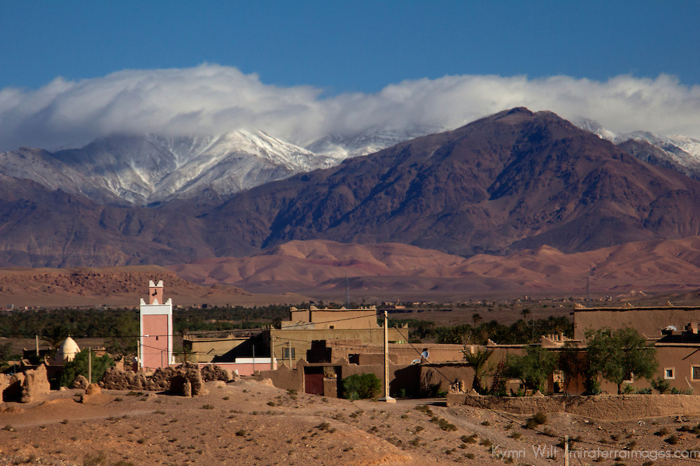 Africa, Morocco, Skoura. Mosque and village of Draa Valley.