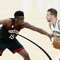 01 May 2017: Houston Rockets center Clint Capela (15) defends on San Antonio Spurs forward David Lee (10) during the Houston Rockets 126-99 victory over the San Antonio Spurs, in game 1 of the Western Conference Semi Finals, at the AT&T Center, San Antonio, Texas, USA.