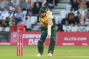 Alex Hales of Nottinghamshire Outlaws pushes a delivery through the covers during the Vitality T20 Blast North Group match between Nottinghamshire County Cricket Club and Worcestershire County Cricket Club at Trent Bridge, West Bridgford, United Kingdon on 18 July 2019.