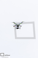 Quadrocopter flying drone, Austria, Burgenland, Northern Burgenland, Jois