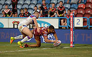 Darnell McIntosh of Huddersfield Giants dives over in the corner to score during the Betfred Super League match at the John Smiths Stadium, Huddersfield<br /> Picture by Richard Land/Focus Images Ltd +44 7713 507003<br /> 27/07/2018