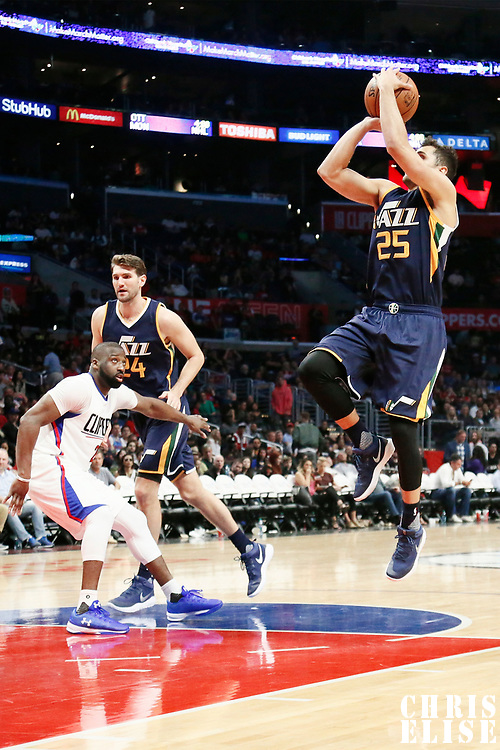 25 March 2016: Utah Jazz guard Raul Neto (25) takes a jump shot during the Los Angeles Clippers 108-95 victory over the Utah Jazz, at the Staples Center, Los Angeles, California, USA.