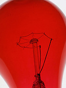 close up of a red light bulb
