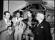 "Guinness Launch ""Guinness Light"".  (M79)..1979..26.06.1979..06.26.1979..26th June 1979..At the Guinness Theatre in St James Gate Brewery,Guinness launched ""Guinness Light"". With a spectacular show Guinness brought to the market a new lighter version of its world famous stout. it is hoped that it will fill a niche with younger drinkers frequenting Ireland's pubs and clubs..Image taken at the launch of the New Guinness Light Stout were Gerry Murtagh, Murtagh's Bar,Lusk, Greg Cunnigham Area Manager, G.G.S.,Siobhan McCabe and Eric Wardrop,Area Sales Manager,Limerick."