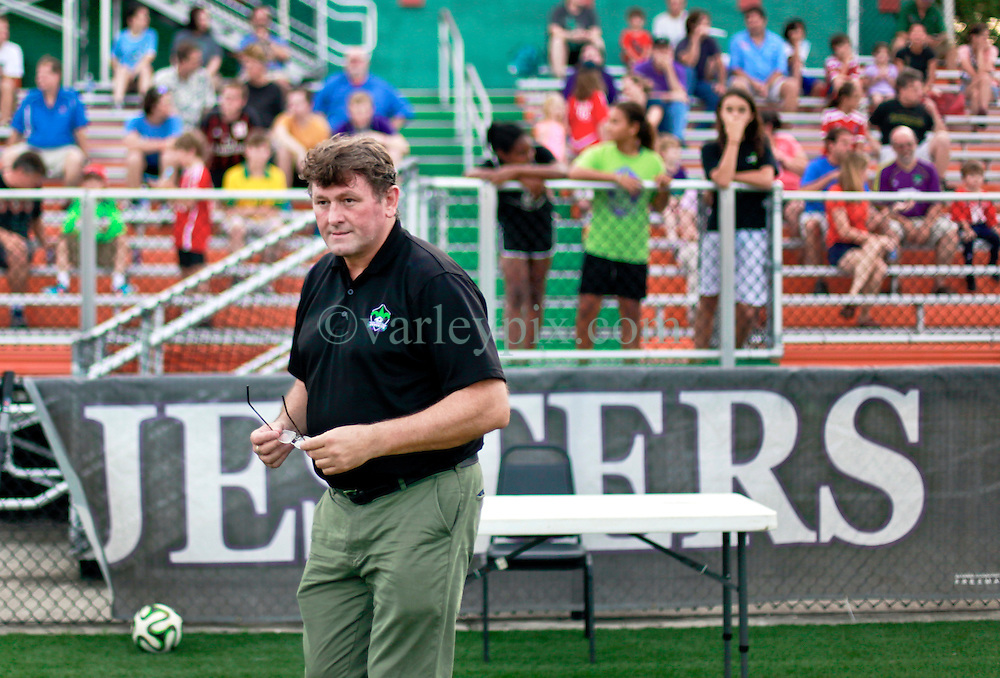 13 June 2015. New Orleans, Louisiana.<br /> National Premier Soccer League. NPSL. <br /> Manager Kenny Farrell a minute before kick off. The New Orleans Jesters play against Texas' Premier Soccer League&rsquo;s (TPSL) runner-up, Houston Hurricanes at home in the Pan American Stadium. Jesters take a 3-1 victory at the final whistle. <br /> Photo; Charlie Varley/varleypix.com