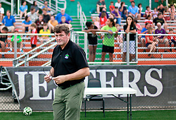 13 June 2015. New Orleans, Louisiana.<br /> National Premier Soccer League. NPSL. <br /> Manager Kenny Farrell a minute before kick off. The New Orleans Jesters play against Texas' Premier Soccer League's (TPSL) runner-up, Houston Hurricanes at home in the Pan American Stadium. Jesters take a 3-1 victory at the final whistle. <br /> Photo; Charlie Varley/varleypix.com