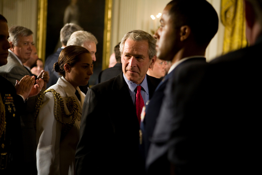 President George W. Bush leaves after making remarks on stem cell research in the East Room of the White House in Washington, DC, on Wednesday, June 20, 2007.