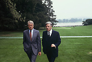 President Jimmy Carter Walks with Chancellor Helmit Schmidt in the garden of the chancellory at the Economic Summit in July 1978,<br /> Photo by Dennis Brack