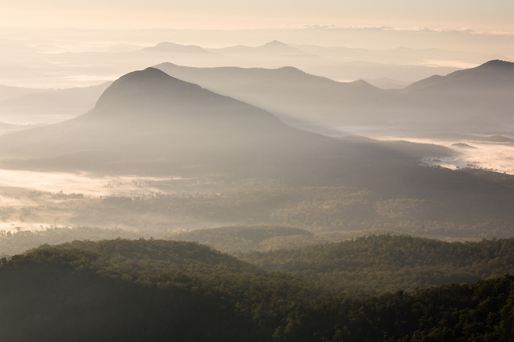 An early morning scene of the mountains in the Scenic Rim from Mt Mitchell. Main Range National Park.