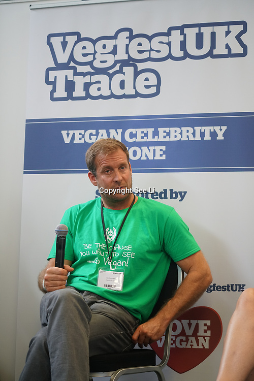 London, England, UK. 20th October 2017.  Speaker Dean Richardson at the Vegen Celebrity Zone for The First VegfestUK Trade at Olympia London, UK