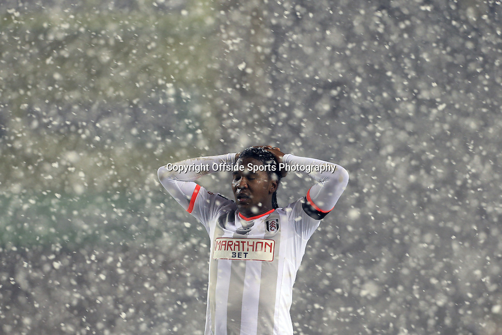 13th January 2015 - FA Cup - 3rd Round Replay - Wolverhampton Wanderers v Fulham - Hugo Rodallega of Fulham looks dejected in the snow - Photo: Simon Stacpoole / Offside.