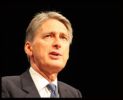 Philip Hammond speech at  the Conservative Party Conference in Birmingham, Sunday,  October 7th 2012. Photo by: Stephen Lock / i-Images