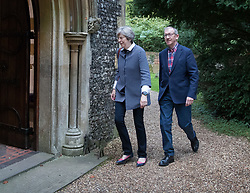 © Licensed to London News Pictures. 08/10/2017. Maidenhead, UK. Prime Minister Theresa May attends church in her constituency with her husband Philip. Mrs May has faced heavy criticism after her disastrous conference speech, with some MPs in the Conservative party calling for her to stand down.  Photo credit: Peter Macdiarmid/LNP