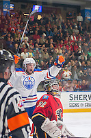 PENTICTON, CANADA - SEPTEMBER 17: Mason McDonald #72 of Calgary Flames misses a save against the Edmonton Oilers on September 17, 2016 at the South Okanagan Event Centre in Penticton, British Columbia, Canada.  (Photo by Marissa Baecker/Shoot the Breeze)  *** Local Caption *** Mason McDonald;