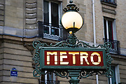 Metro sign, Boulevard Saint Germain, Paris, France