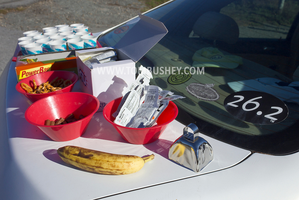 Goshen, New York - Food and drink for runners on the trunk of a car during the Hambletonian Marathon fun run on Nov. 4, 2012. The run was put together for runners who had trained for the New York City Marathon, which was cancelled because of Hurricane Sandy.